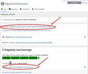Benefits Statement Online